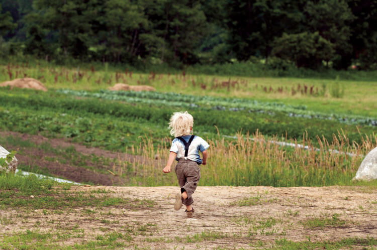 Young boy running in a field