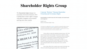Shareholder rights group website with article text